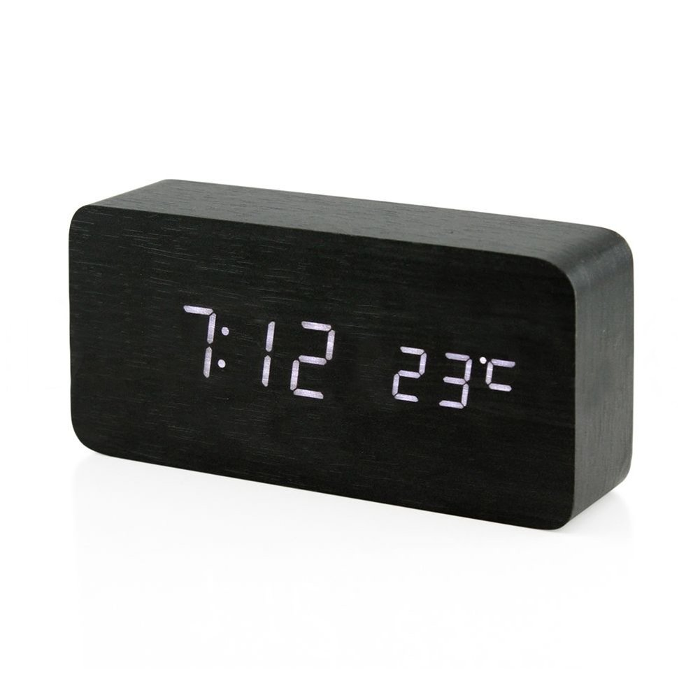 Ocamo Digital LED Alarm Clock, Voice Control Despertador Temperature Display Desktop Digital Table Clocks, USB/AAA Powered Black