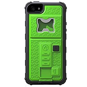 ECSEM® 2015 Fashion iPhone 5 5S Back Cover Case Built-in Cigarette Lighter/bottle Opener/ Camera Stable Tripod Case Shockproof Defender Case-Darkgreen