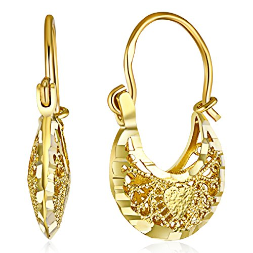 Wellingsale Ladies 14k Yellow Gold Polished Fancy Filigree Hoop Earrings (12 X - Filigree Hoop Yellow Gold 14k