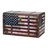Household Essentials 9203-1 Jumbo Decorative Home Storage Trunk - Luggage Style - Americana Design
