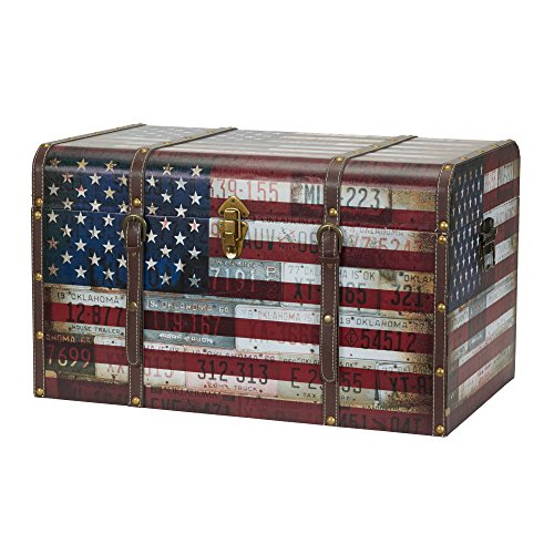 (Household Essentials 9203-1 Jumbo Decorative Home Storage Trunk - Luggage Style – Americana Design)