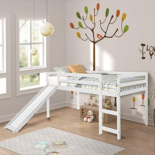 Loft Bed, Rockjame Twin Wood Kids Bed with Slide Multifunctional Design for Boys, Girls and Young Teens White