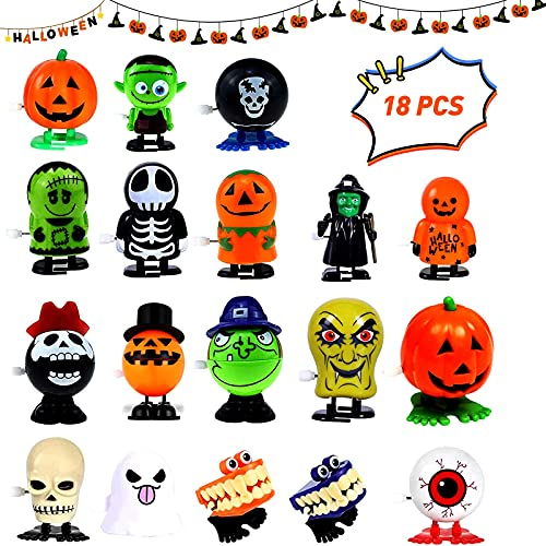 18 pcs Halloween Wind Up Toy, Jumping and Walking Clockwork Toys, for Halloween Party Favors Goody Bag Filler
