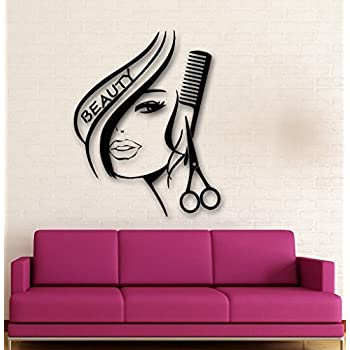 Amazon wall decal decor decals sticker art stylist master hair hair salon removable vinyl wall decal sexy girl hair beauty salon wall stickers home decoration teraionfo