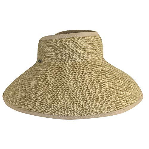 SCALA Women's Packable Paper Braid Visor - Toyo Wide Braid Hat