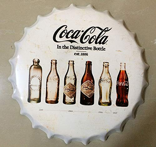 NEWNESS WORLD Coca Cola in The Distinctive Bottle est.1886 tin Sign/Vintage Metal Painting Beer Cap Bar Pub Hanging Ornaments Wall Decoration Metal Tin(13.77 inches)