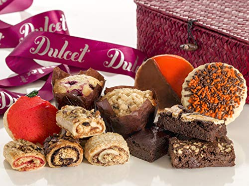 Dulcet Deluxe Pastry Fall Wicker Box – Large Food Gift Basket with an Assortment of Gourmet Fall-themed Baked-goods. Unique Thanksgiving Holiday Gift Set for Men, Women, Corporate Meeting & Family Gif -