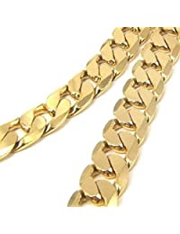 Chunky 24in 10mm 24k Yellow Gold Plated Mens Necklace Solid Cuban Curb Chain Fashion Jewelry