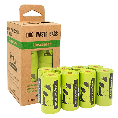 Clean Green Eco (Eco-clean Poop Bags Biodegradable, Dog Waste Bags, 8 Rolls/120 Counts, Unscented, Leak-Proof, Easy Tear-Off)