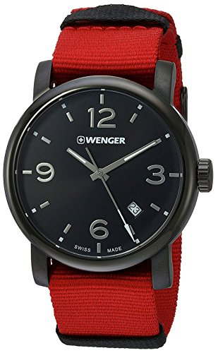 Wenger Men's 'Urban Metropolitan' Swiss Quartz Stainless Steel and Nylon Casual Watch, Color:Red (Model: 01.1041.132)