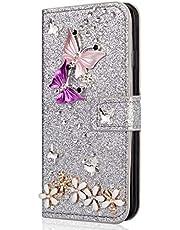Miagon Diamond Case for Samsung Galaxy J6 Plus 2018,Luxury Glitter Rhinestone Butterfly Flower PU Leather Folio Flip Wallet Cover Magnetic Closure Card Slots,Silver