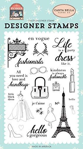 Paper Fashionista - Carta Bella Paper Company CBEV103041 Fashionista Set Stamp, Pink, Green, Teal, Black
