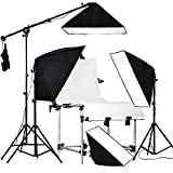RPGT Soft box Studio 80W 5500K Bulbs 50x70cm Softboxes 2M Light Stand with 1.6x3M Black and White Pannels Shooting Table Boom Arm Lighting Kit
