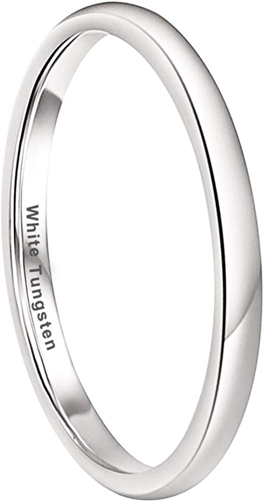 iTungsten 2mm 4mm 5mm 6mm 8mm Silver/Black/Gunmetal/White Tungsten Carbide Rings for Men Women Wedding Bands Domed Polished Shiny Comfort Fit