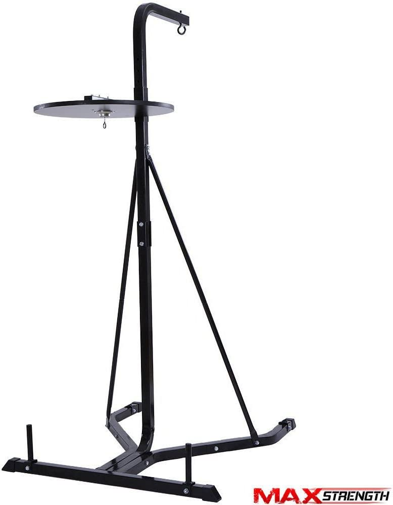 Max Strength 2 Way Free Standing punch bag Frame 62 high and 4 filled Punching bag with Speedball Platform set in black colour