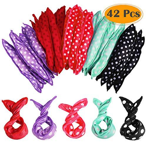 Anezus 42 Pieces Hair Rollers Night Sleep Foam Hair Curler Rollers Soft Pillow Hair Rollers DIY Sponge Hair Styling Rollers Tools, 5 Colors (Rollers Rag)