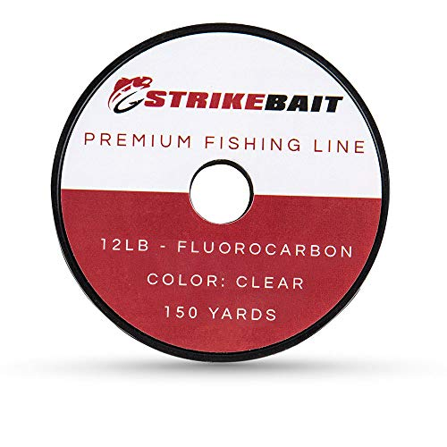 STRIKEBAIT Fluorocarbon Fishing Line – Virtually Invisible and Impossible to Detect – Strong, Heavy Duty Abrasion and UV Resistant Clear Leader Material – 12 Pound Test, 150 Yards