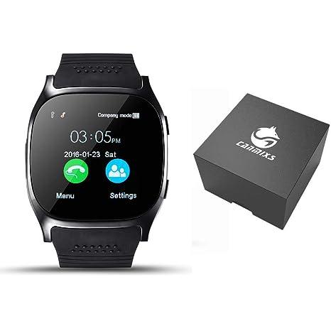 CanMixs Smartwatch CF02 es compatible con la tarjeta SIM Reloj de pulsera TF con cámara Podómetro Sleep Monitor Message Sync notifica el reproductor de ...