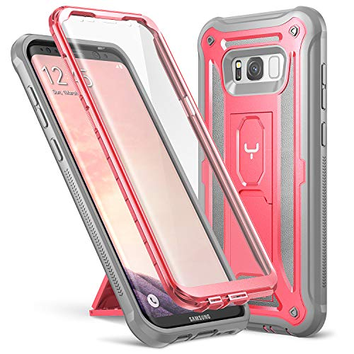 YOUMAKER Kickstand Case for Galaxy S8 Plus, Full Body with Built-in Screen Protector Heavy Duty Protection Shockproof Rugged Cover for Samsung Galaxy S8 Plus (2017) 6.2 inch - Pink/Gray