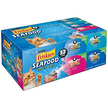 Friskies Pate Wet Cat Food Variety Pack, Seafood Favorites – 32 5.5 oz. Cans