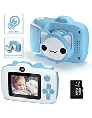 Kids Camera,HONEYWHALE Kids Digital Video Selfie Cameras 2.0 Inch IPS Screen Child Toddler Camera with 32GB SD Card,Best Birthday Toys Gifts for Boys Girls 3-12 Year Old (Blue)