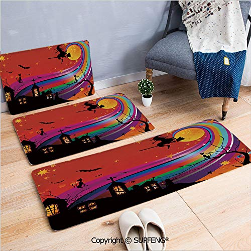 Bathroom Rugs Halloween,Witch Woman on Broomstick Bats Cat Stars Rainbow Moon Castle Abstract Colorful Decorative,Multicolor 3 Piece Water Uptake Anti-Skid Cartoon -