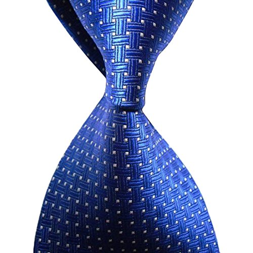 KissTies Royal Blue Tie Cross Pattern Necktie + Gift Box