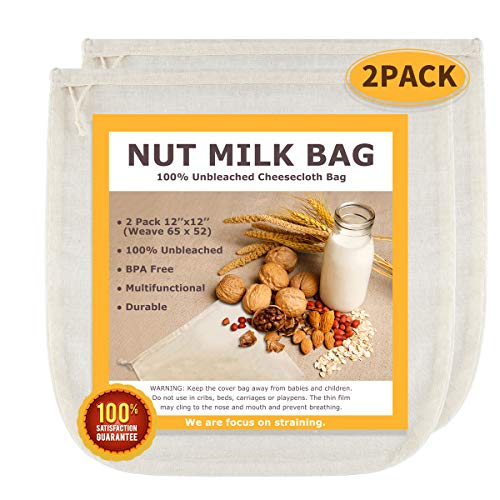 """Nut Milk Bags, All Natural Cheesecloth Bags, 12""""x12"""", 2 Pack, 100% Unbleached Cotton Cloth Bags for Cheese/Tea/Yogurt/Juice/Wine/Soup/Herbs, Durable Washable Reusable Almond Milk Strainer(Weave 65x52)"""