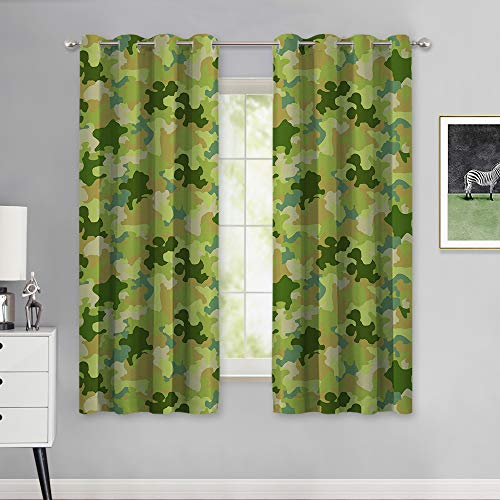 NICETOWN Camo Room Decor Window Curtains, Natural Forest Camouflage Pattern Room Darkening Army Comforter Theme Geo Draperies for Kitchen (52