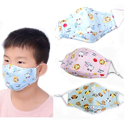 Cute Kids Masks Animal Cotton Mouth Mask Children's PM2.5 Guaze Mask Dustproof Face Mask with N95 Filters Respirator for Outdoor 3Pcs (Blue Sheep+Pink Sheep+Blue Dog)