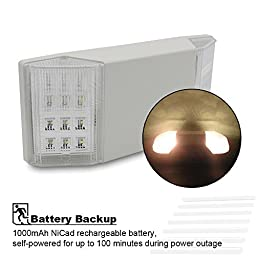 TORCHSTAR UL-Listed LED Emergency Light with Battery Backup, White, Available in Damp Locations, 120V/277V Input, High Light Output for Hallways/Corridors/Stairways - EL01