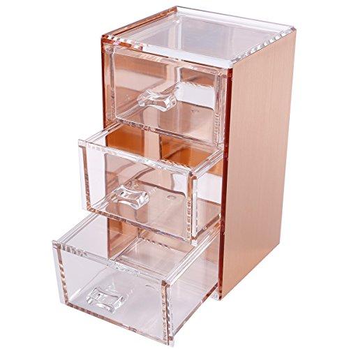 Anladia Premium Quality Rose Gold 3 Drawer Acrylic Makeup Jewelry Stationary Holder Organizer Box
