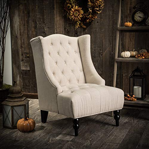Great Deal Furniture Clarice Tall Wingback Tufted Fabric Accent Chair, Vintage Club Seat for Living Room Light Beige