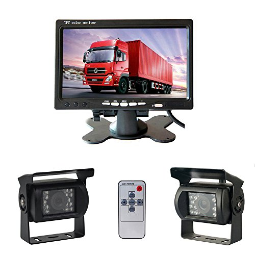 """Camecho DC 12V 24V Vehicle Backup Camera System 2 x Rear View Camera Support Night Vision Waterpoof & 7"""" Monitor with Dual 34ft AV Cables Hardwire for Bus Truck Van Trailer RV Campers"""