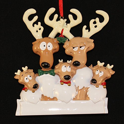 - Rudolph Reindeer Family of 5 Personalized Christmas Ornament