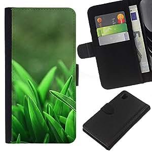 Sony Xperia Z1 / L39h / C6902 Modelo colorido cuero carpeta tirón caso cubierta piel Holster Funda protección - Spring Growing Clean Forest