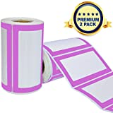 Colorful Plain Name Tag Labels - 2 Rolls 500 Stickers in Total - 3.5 x 2 inches - Nametags for Jars, Bottles, Food Containers, Folders, Birthday Parties and Kids Clothes (Purple/Purple 2 Pack)