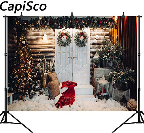 VietNewYear Background - Capisco Photography Backdrop Christmas Tree Wreath Wooden House Decoration Background Photo Studio Camera fotografica 1 PCs