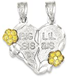 ICE CARATS 925 Sterling Silver Vermeil Big Sis Lil 2 Piece Break Apart Heart Pendant Charm Necklace / Lo