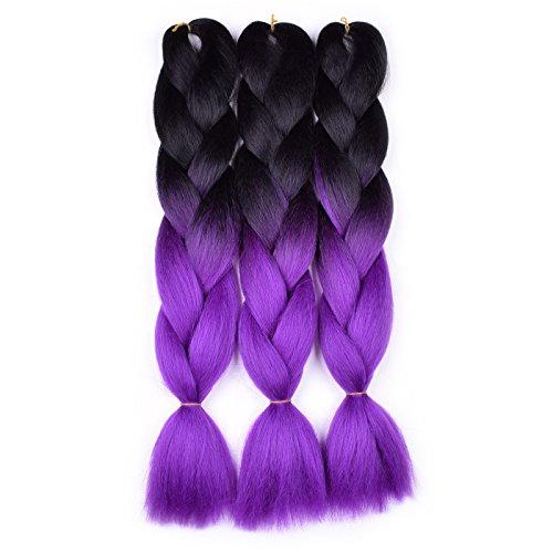 Jumbo Braiding Hair Ombre (Black/Purple) 3 Pcs Synthetic Jumbo Braid Hair Extensions For Box Braids Hair Senegal Twist Crochet Braids
