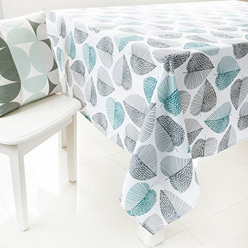 ColorBird Pastoral Style Washable Green and Grey Leaf Print Pattern Tablecloth Rectangle Polyester Tablecloth Fashion Table Cover (55'' x 70'', Leaf) - Print Tablecloth