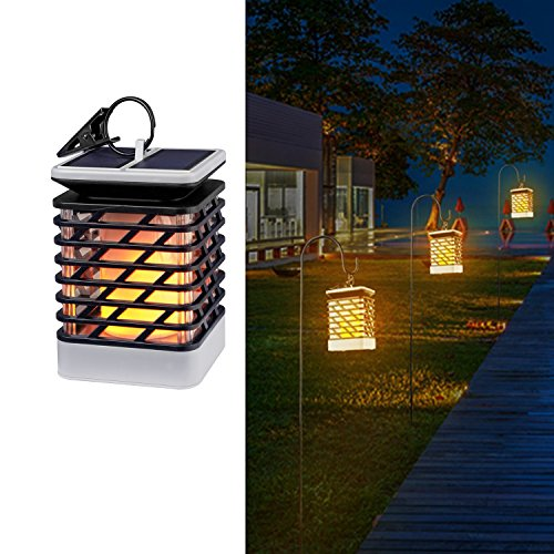Solar Lights Outdoor Espier LED Flickering Flame Torch Lights Solar Powered Lantern Hanging Decorative Atmosphere Lamp for Pathway Garden Deck Christmas Holiday Party Waterproof Auto On/Off (8 Light Outdoor Hanging Lantern)