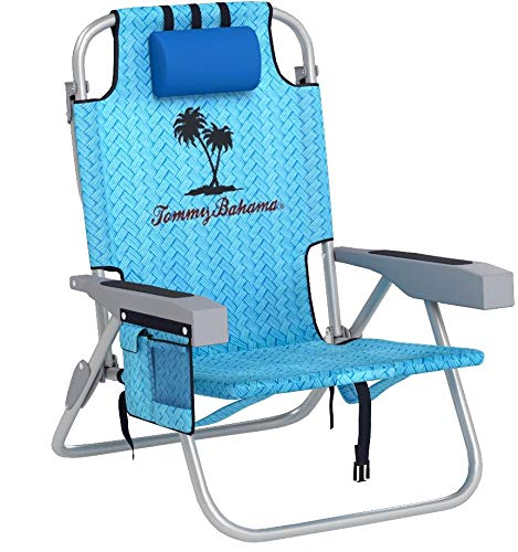 Tommy Bahama Backpack Cooler Chair with Storage Pouch and Towel Bar (Blue Weave)