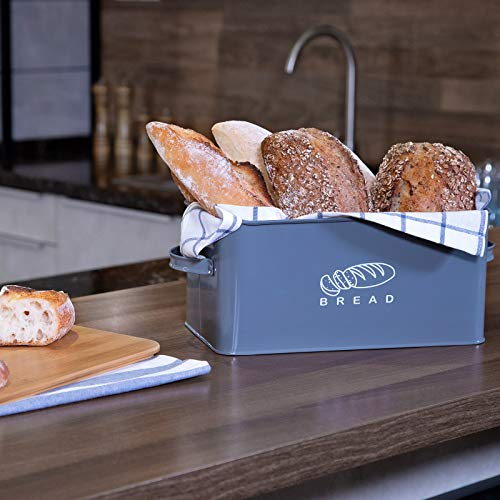"Bread Box for Kitchen, GA Homefavor Bread Bin, Bread Holder with Bamboo Lid, 11.56""6.7""5.5"", Grey"