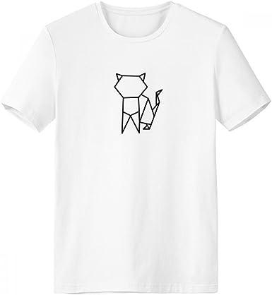 DIYthinker Resumen de Origami Gato Forma geométrica con cuello redondo de la camiseta blanca de manga corta Comfort Deportes camisetas de regalos - Multi -: Amazon.es: Ropa y accesorios