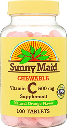 100% Natural Tabs 500 (Sunny Maid Vitamin C, 500 mg, Natural Orange Flavor, 100-Count Chewable Tablets (Pack of 3))