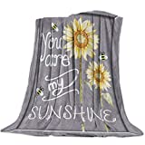 Cozy Warm Lightweight Microfiber Throw Blankets,Soft Reversible Flannel Fleece Bed Throw You Are My Sunshine Bees Sunflowers,Luxury Fuzzy Blankets for Adults/Girls/Kids/Boys/Dogs/Couch,39''W x 49''L