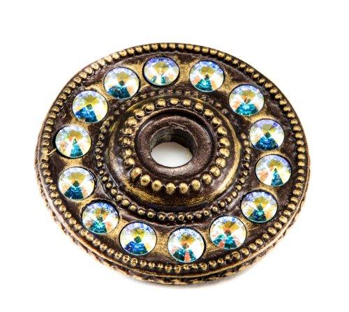 Carpe Diem Hardware 883-3AB Caché Escutcheon with Swarovski Crystals, Antique Brass