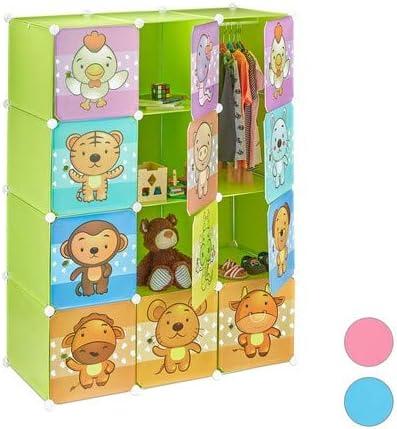 Immagini di Animali con Ante e Bastone Appendiabiti HxLxP: 145 x 110,5 x 46,5 cm Relaxdays Scaffale Componibile per la Cameretta dei Bambini Multicolore