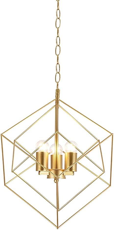 Casilvon Industrial Farmhouse Adjustable Large Metal Square Wire Cage Ceiling Gold Pendant Light 3 Light Brass Hanging Pendant Lighting Fixture With For Foyer Kitchen Island Amazon Com